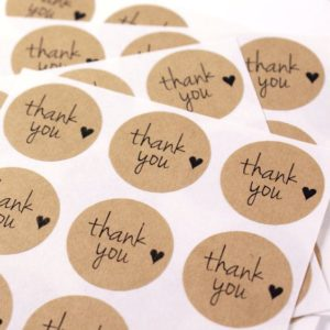 STICKER THANK YOU KRAFT IMPRESO EN NEGRO